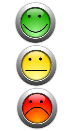poll or customer satisfaction survey concept with smilie button Stock Photo - 8469819