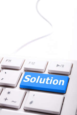 business solutions or problem concept with word on computer keyboard Stok Fotoğraf - 8469832