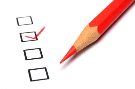 customer survey: excellent or good marketing customer service survey with red pencil and checkbox