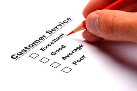 questionaire: Encuesta de consumidores con la casilla de verificaci�n de cuestionario para mejorar ventas Foto de archivo