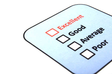 excellent or good marketing customer service survey with red pencil and checkbox Stock Photo - 8509208