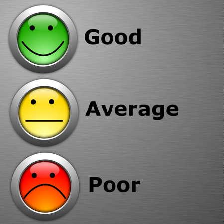 h�kchen: Umfrage oder Kunden-Zufriedenheit-Umfrage-Konzept mit Smilie-Schaltfl�che