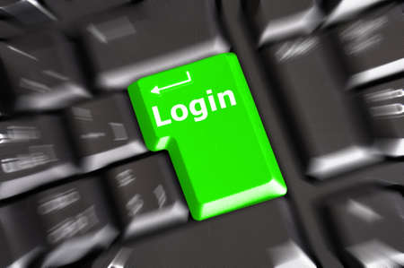 sign in or login concept with key on computer keyboard photo