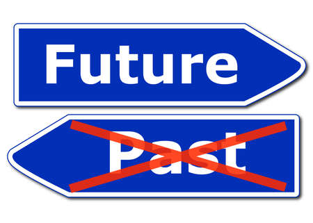 future road sign isolated on white background showing time concept Stock Photo - 8578712