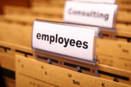 employess word on business office folder shopwing job hiring or work concept photo