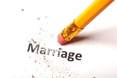 broken relationship: divorce concept with marriage word pencil and eraser