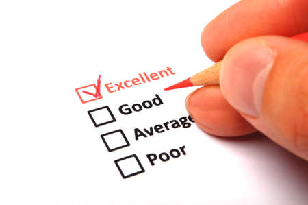customer satisfaction survey form with checkbox showing marketing concept Stock Photo - 8578681