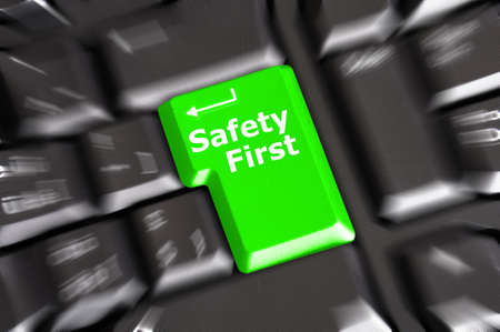 internet safety: safety first concept with key showing risk danger or insurance Stock Photo