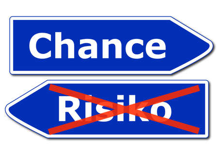 risk management concept with road sign isolated on white background Stock Photo - 8656697