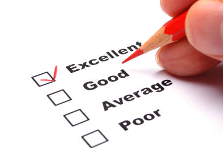 opinions: satisfaction survey showing marketing concept to improve sales Stock Photo