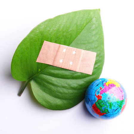 ecological problem: eco ecology ecological nature or environmental concept with green leaf and plaster on white