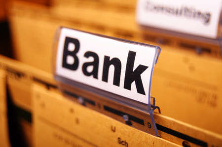 bank or banking word on tab folder showing finance or financial success concept Stock Photo - 8656736