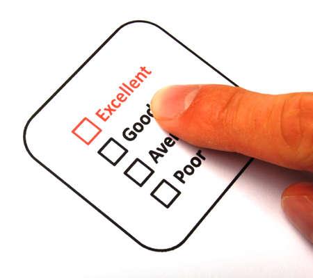 questionaire: casilla de verificaci�n y rojo pluma que muestra al cliente servicio encuesta satisfacci�n concepto o para mejorar ventas