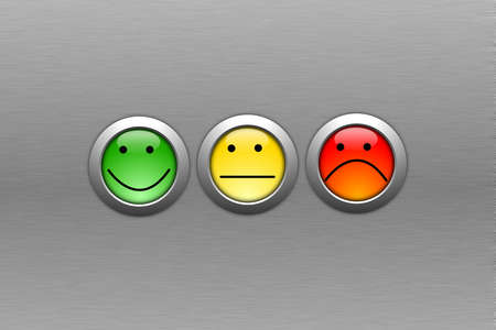 customer satisfaction survey concept with smilie and button