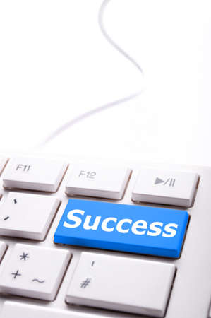 success word on button or key showing motivation for job or business Stock Photo - 8656676
