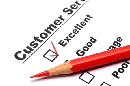 customer service survey with red pencil and checkbox showing satisfaction concept Stock Photo - 8705430