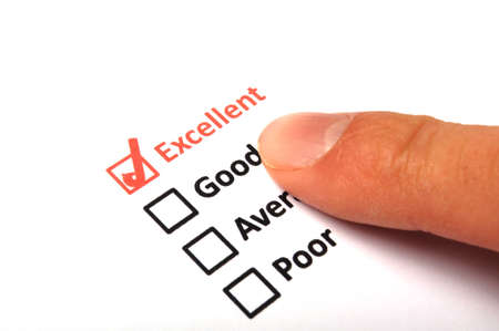 quality survey form with red pencil showing marketing concept photo