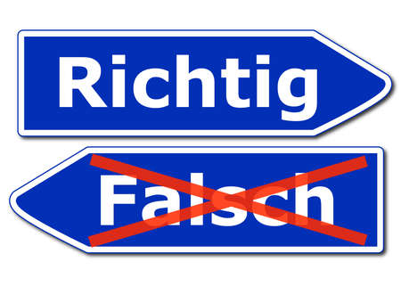 right or wrong concept with road sign isolated on white background photo