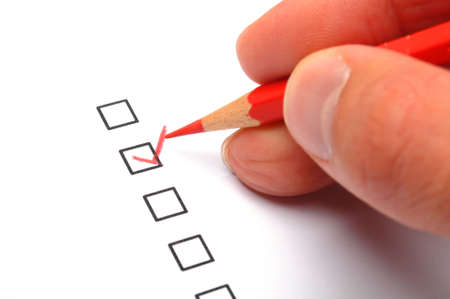 customer service survey with red pencil and checkbox showing satisfaction concept Stock Photo - 8777634