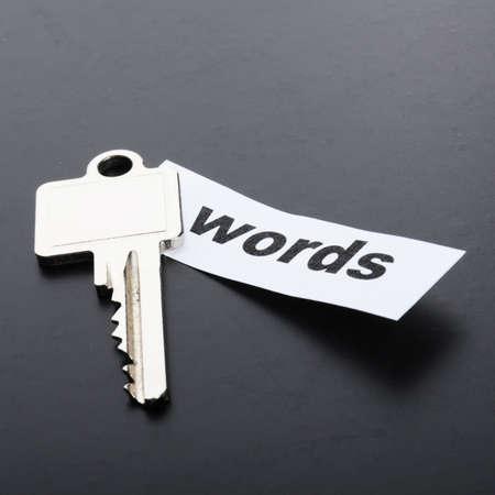 metadata: concetto di metadati o seo di parole chiave con la chiave e la parola