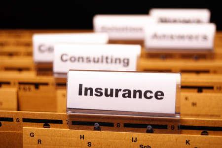 Versicherung Wort auf Business Ordner Ergebnis Risk Management-Konzept Standard-Bild