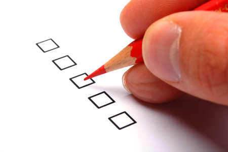 excellent or good marketing customer service survey with red pencil and checkbox Stock Photo - 8840716