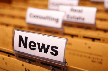news or newsletter concept with word on folder register in business office Stock Photo - 8840815