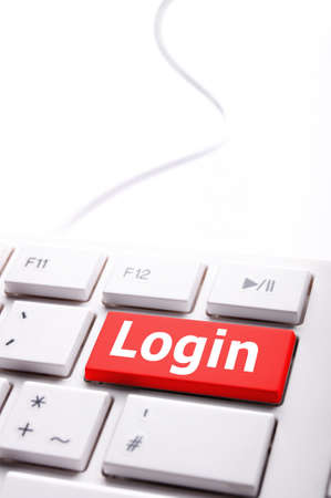 sign in or login on internet webpage concept with keyboard key photo