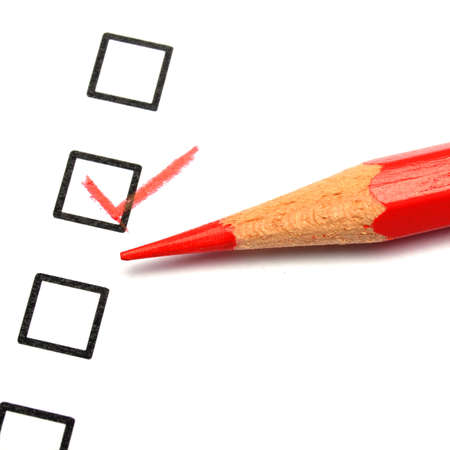quality survey form with red pencil showing marketing concept Stock Photo - 8865466
