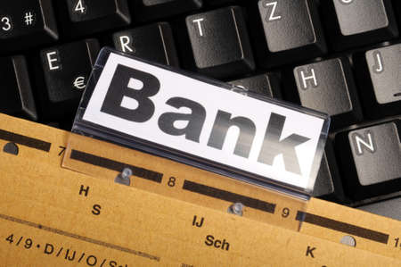 bank or banking word on tab folder showing finance or financial success concept Stock Photo - 8865620