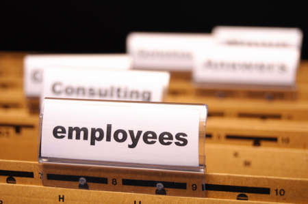 human resources: employess word on business office folder shopwing job hiring or work concept