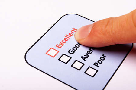 quality survey form with red pencil showing marketing concept Stock Photo - 8865566