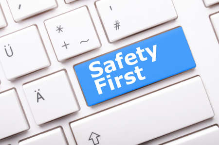 safety first: safety first concept with key showing risk danger or insurance Stock Photo