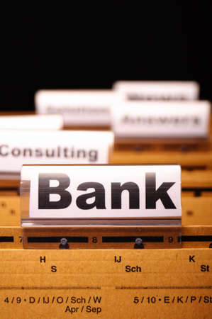 bank or banking word on tab folder showing finance or financial success concept Stock Photo - 9011760