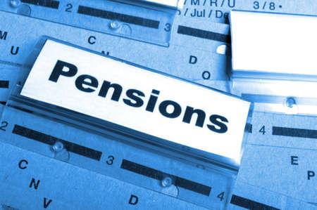 ビジネス オフィス フォルダー インデックスの単語と年金年金や退職金の概念