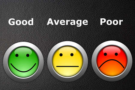 customer satisfaction survey concept with smilie and button photo