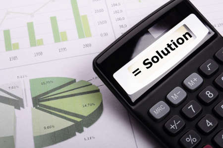 solution or problem business concept with calculator Stock Photo - 9083786