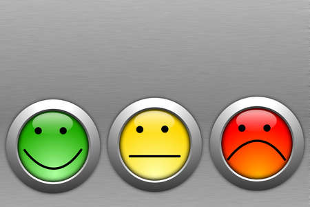 poll or customer satisfaction survey concept with smilie button Stock Photo - 9083789
