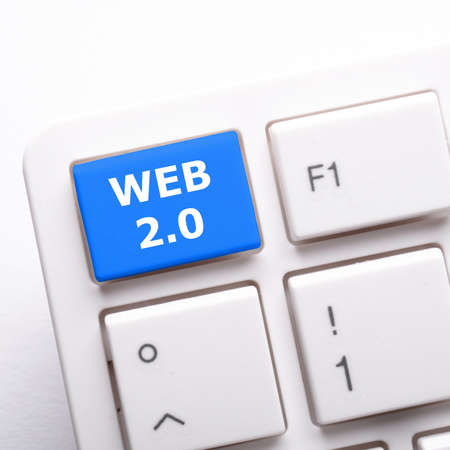 2 0: web 2 0 rss or blog concept with internet computer key on keyboard