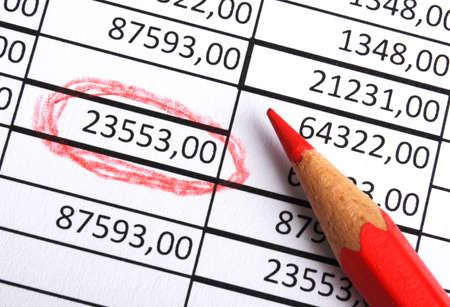 ビジネス番号と成長会計または金融成功の概念を示すのペン