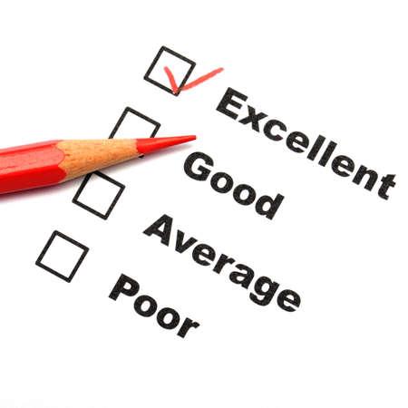 ottimo: modulo di sondaggio di soddisfazione di cliente con la casella di controllo mostra il concetto di marketing