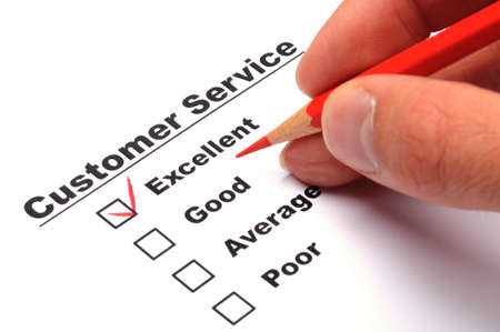 excellent or good marketing customer service survey with red pencil and checkbox Stock Photo - 9209724