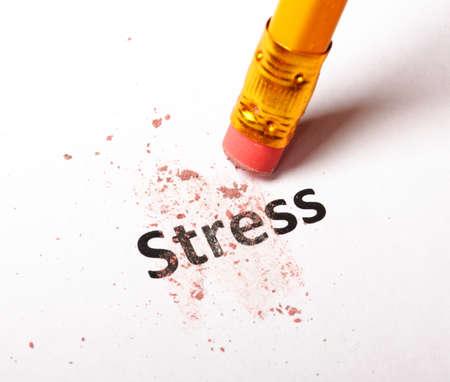 ビジネス オフィス コンセプトでのストレスは鉛筆と消しゴム 写真素材