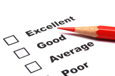 customer service survey with red pencil and checkbox showing satisfaction concept