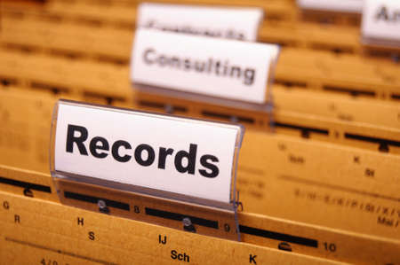 records word on business folder index showing office concept