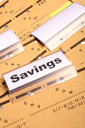 savings word on business folder showing saving money concept Stock Photo - 9274274
