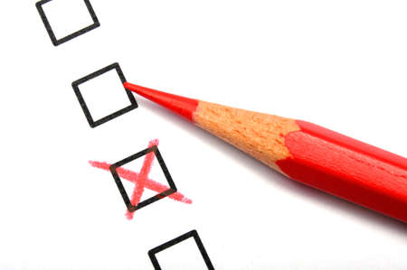 questionary: checkbox and red pen showing customer service survey or satisfaction concept to improve sales
