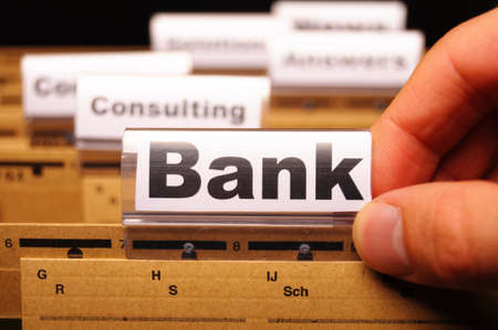 bank or banking word on tab folder showing finance or financial success concept Stock Photo - 9307449