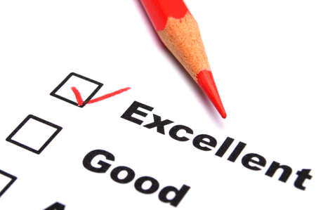 excellent: excellent or good marketing customer service survey with red pencil and checkbox
