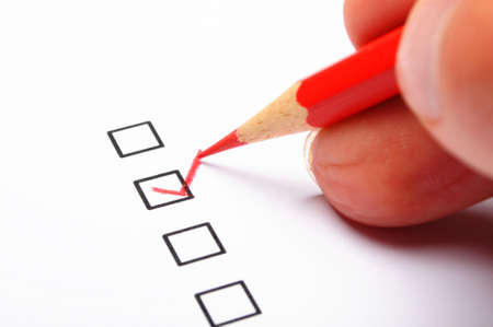 poll: poll or polling concept with checkbox and red pencil showing marketing